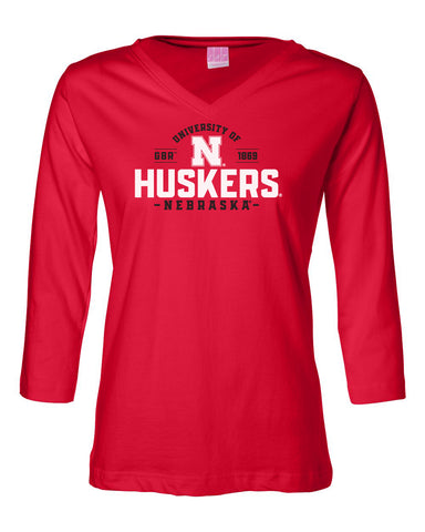 Women's Nebraska Huskers ¾ Sleeve V-Neck Tee Shirt - University of Nebraska Huskers N
