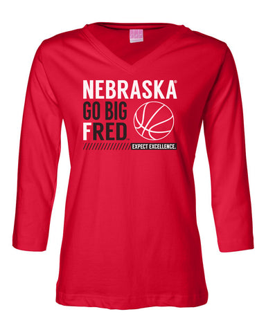Women's Nebraska Huskers ¾ Sleeve V-Neck Tee Shirt - Nebraska Basketball - GO BIG FRED