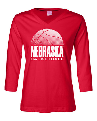 Women's Nebraska Huskers ¾ Sleeve V-Neck Tee Shirt - Nebraska Basketball