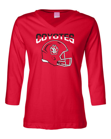 Women's South Dakota Coyotes ¾ Sleeve V-Neck Tee Shirt - USD Football Helmet