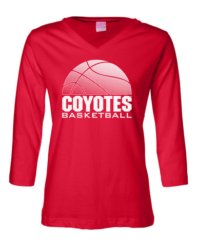 Women's South Dakota Coyotes ¾ Sleeve V-Neck Tee Shirt - Coyotes Basketball