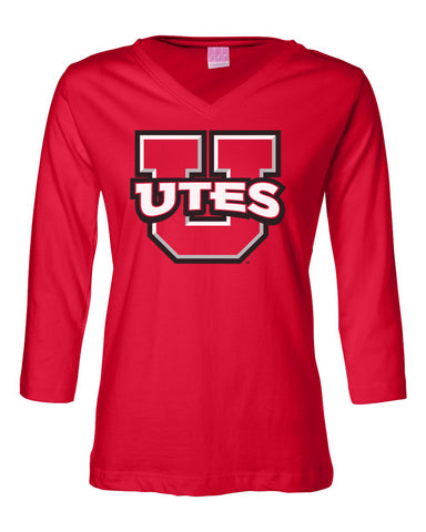 Women's Utah Utes ¾ Sleeve V-Neck Tee Shirt - Block U Utes Logo