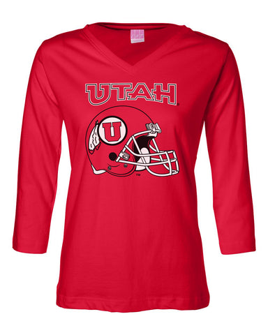 Women's Utah Utes ¾ Sleeve V-Neck Tee Shirt - Utah Utes Football Helmet