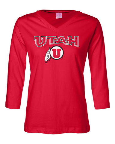 Women's Utah Utes ¾ Sleeve V-Neck Tee Shirt - Circle & Feather Logo