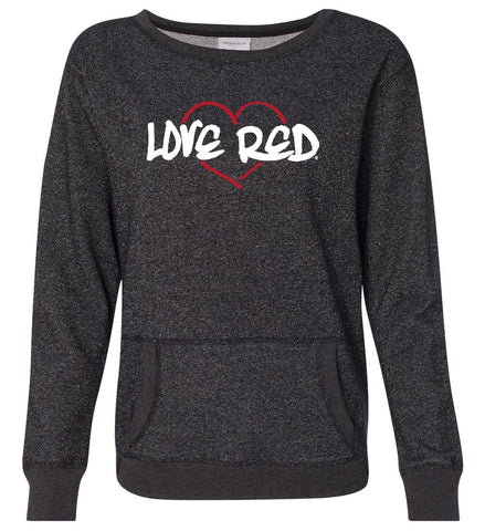 "Women's Nebraska Premium Glitter Sweatshirt - ""Love Red"" Red Heart"
