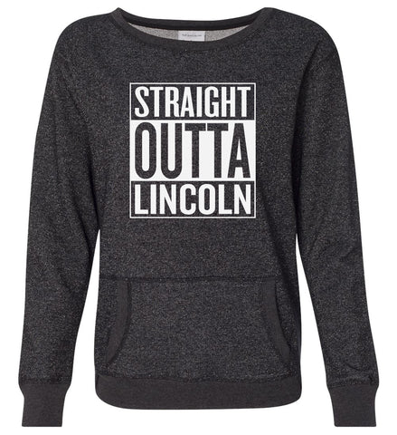 Women's Nebraska Premium Glitter Sweatshirt - STRAIGHT OUTTA LINCOLN