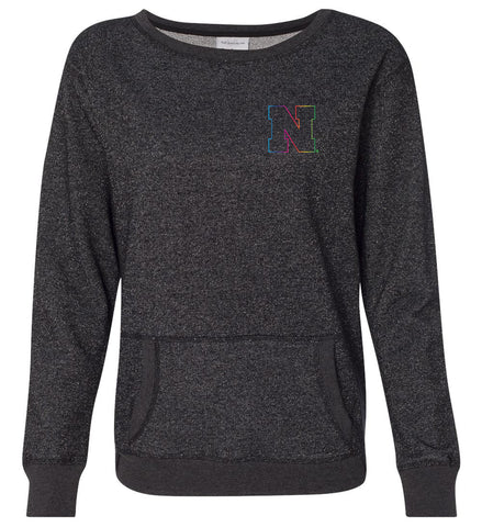 Women's Nebraska Rainbow Outline N Premium Glitter Sweatshirt