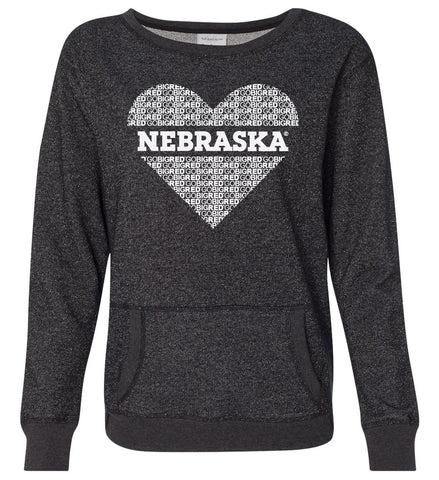 "Women's ""GO BIG RED"" NEBRASKA Heart Premium Glitter Sweatshirt"