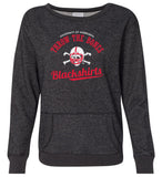 Women's Nebraska Husker Sweatshirt Premium Glitter - Script Blackshirts THROW THE BONES