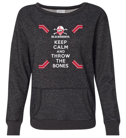 Women's Nebraska Husker Sweatshirt Premium Glitter - Keep Calm and THROW THE BONES