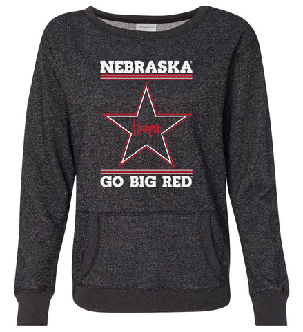 Women's Nebraska Husker Sweatshirt Premium Glitter - Star Huskers GO BIG RED