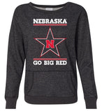 Women's Nebraska Husker Sweatshirt Premium Glitter - Star N GO BIG RED
