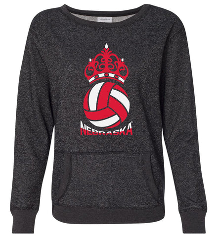 Women's Nebraska Huskers Premium Glitter Sweatshirt - Nebraska Huskers Volleyball Crown