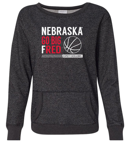 Women's Nebraska Huskers Premium Glitter Sweatshirt - Nebraska Basketball - GO BIG FRED