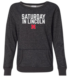 Women's Nebraska Huskers Premium Glitter Sweatshirt - Saturday In Lincoln