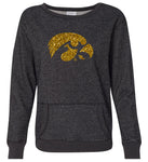 Women's Iowa Hawkeyes Premium Glitter Sweatshirt - Tigerhawk Logo in Gold Glitter