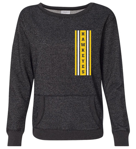 Women's Iowa Hawkeyes Premium Glitter Sweatshirt - Vertical Stripe with HAWKEYES