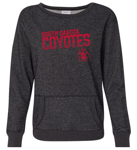 Women's South Dakota Coyotes Premium Glitter Sweatshirt - Coyotes Stripe Fade