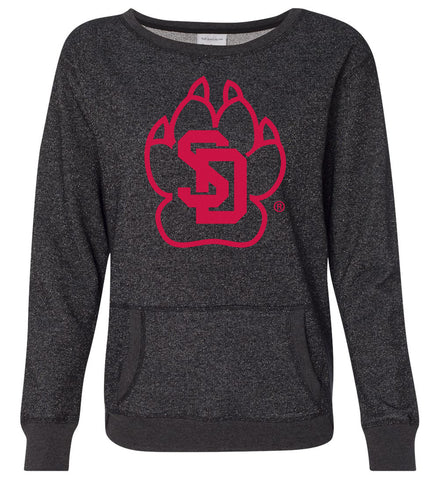 Women's South Dakota Coyotes Premium Glitter Sweatshirt - SD Coyote Paw
