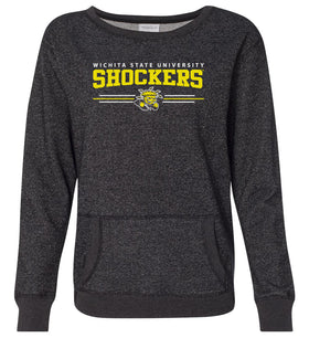 Women's Wichita State Shockers Premium Glitter Sweatshirt - Wichita State Shockers 3 Stripe