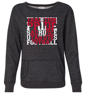 Women's Utah Utes Premium Glitter Sweatshirt - Utah Utes Football Tradition