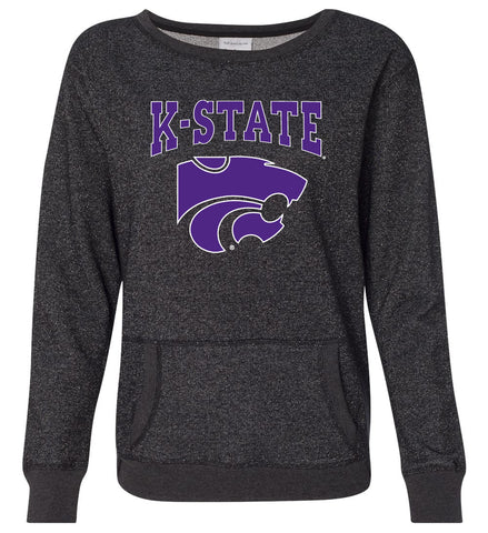 Women's K-State Wildcats Premium Glitter Sweatshirt - K-State Powercat with Outline