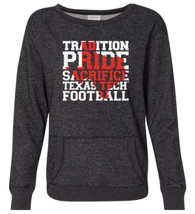 Women's Texas Tech Red Raiders Premium Glitter Sweatshirt - Texas Tech Football Tradition