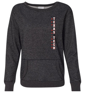 Women's Texas Tech Red Raiders Premium Glitter Sweatshirt - Vertical Texas Tech
