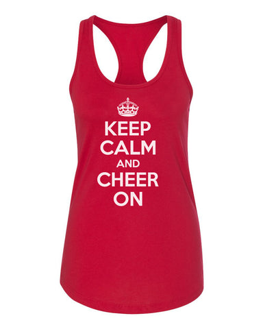 "Women's ""KEEP CALM and CHEER ON"" Racerback Tank Top"