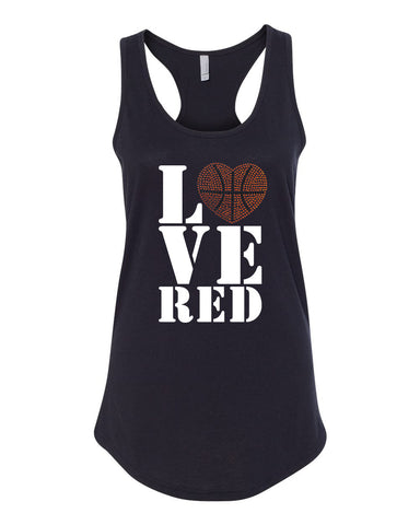 "Women's Stacked ""LOVE RED"" Rhinestone Basketball Racerback Tank Top"