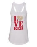 "Women's Stacked ""LOVE RED"" Rhinestone Football Racerback Tank Top"