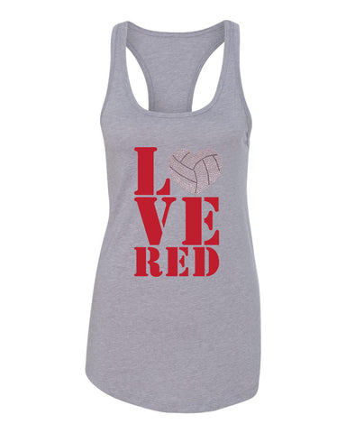 "Women's Stacked ""LOVE RED"" Rhinestone Volleyball Racerback Tank Top"