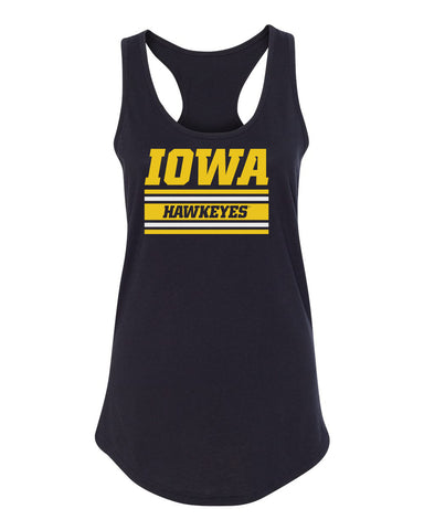 Women's Iowa Hawkeyes Tank Top - Horizontal Stripe Italic Iowa HAWKEYES