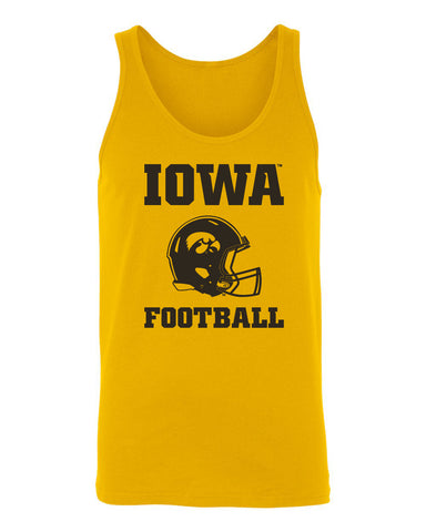 Women's Iowa Hawkeyes Tank Top - Iowa Football Helmet on Gold