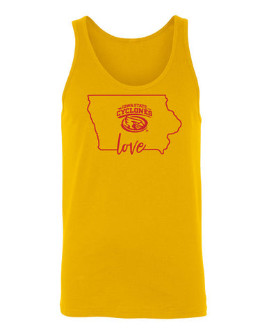 Women's Iowa State Cyclones Tank Top - Cyclones Love State Outline