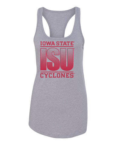 Women's Iowa State Cyclones Tank Top - ISU Fade Red on Gray