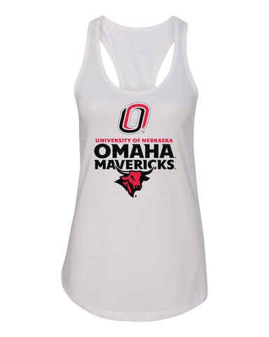 Women's Omaha Mavericks Tank Top - Omaha Mavericks with Bull and Primary Logo on White
