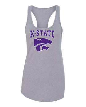 Women's K-State Wildcats Tank Top - K-State Powercat with Outline