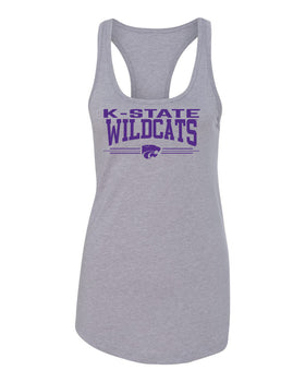 Women's K-State Wildcats Tank Top - K-State Wildcats 3 Stripe Powercat