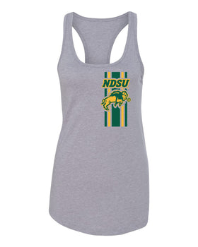 Women's NDSU Bison Tank Top - Bison Logo Vertical Stripe