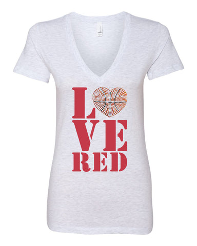 Women's Stacked LOVE RED Basketball Rhinestones Deep V-Neck Premium Top