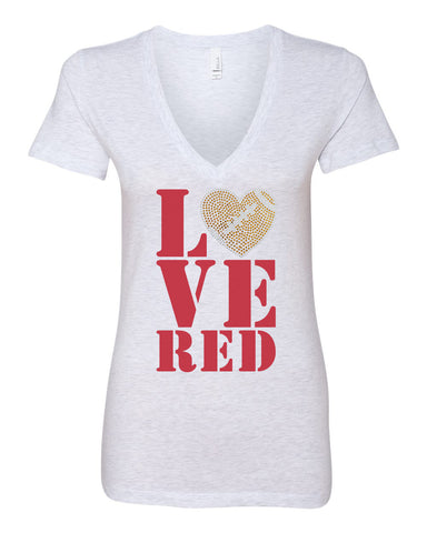 Women's Stacked LOVE RED Football Rhinestones Deep V-Neck Premium Top