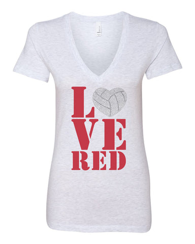 Women's Stacked LOVE RED Volleyball Rhinestones Deep V-Neck Premium Top