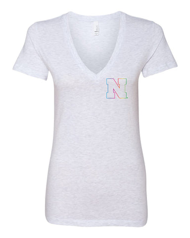 Women's Nebraska Rainbow Outline N Deep V-Neck Premium Top