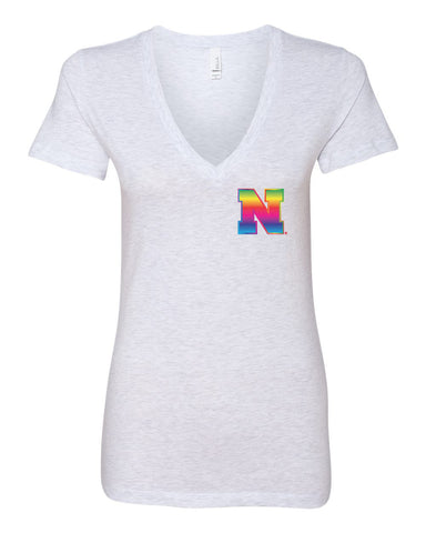 Women's Nebraska Rainbow N Deep V-Neck Premium Top