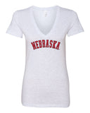 "Women's ""NEBRASKA"" Arch Deep V-Neck Premium Top"