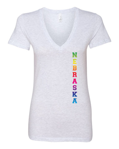 "Women's Rainbow ""NEBRASKA"" Huskers Deep V-Neck Premium Top"