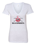 Women's Nebraska Huskers Tee Shirt Deep V-Neck - Blackshirts Logo