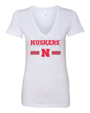 Women's Nebraska Husker Tee Shirt Deep V-Neck - HUSKERS Stripe N