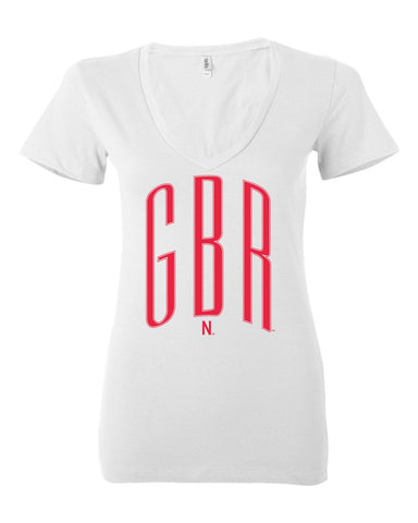 Women's Nebraska Huskers V-Neck Tee Shirt - Red GBR